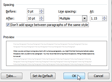 paragraph dialog box