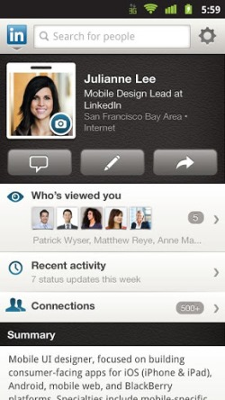 access linkedin on the go  - on android