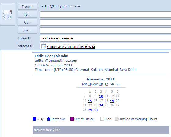 calendar attachment