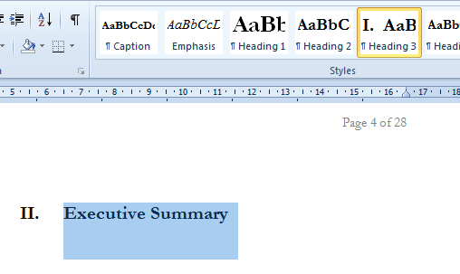 how to create a proper table of contents in word