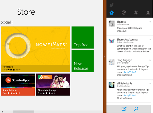 Twitter for Windows 8 snap View