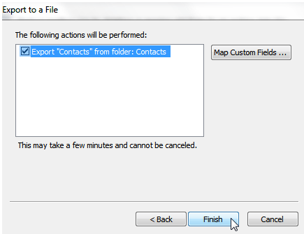 export contacts from folder