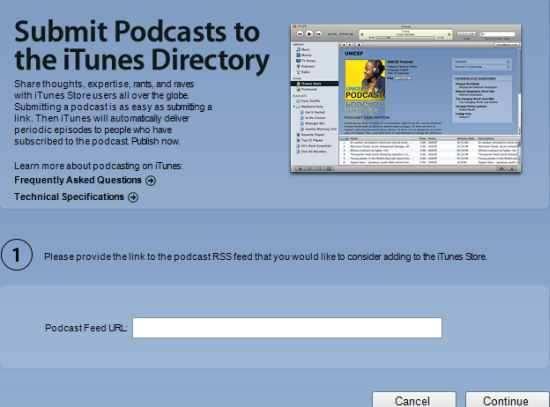 submit a podcast to itunes