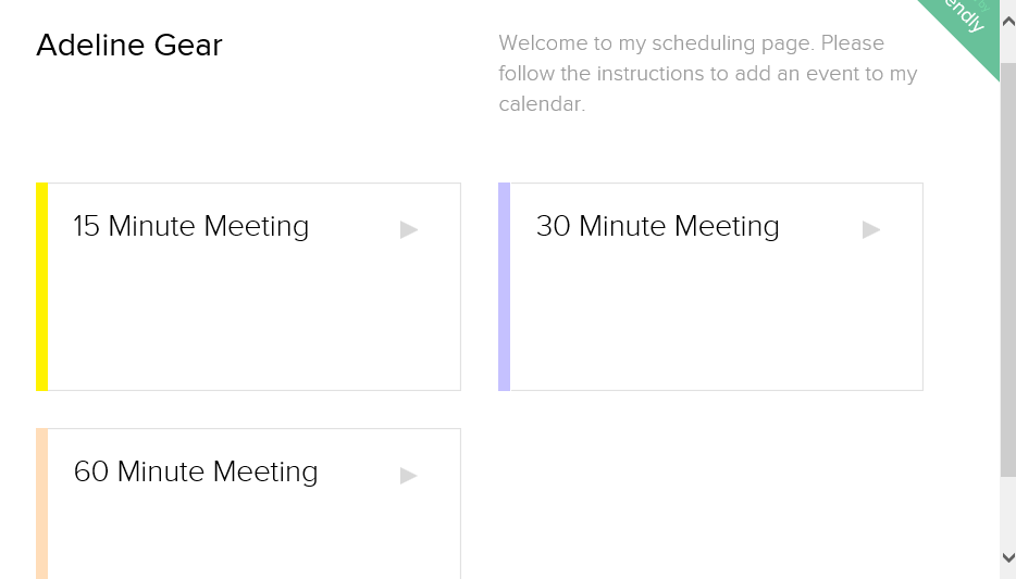 Calendly invitee view