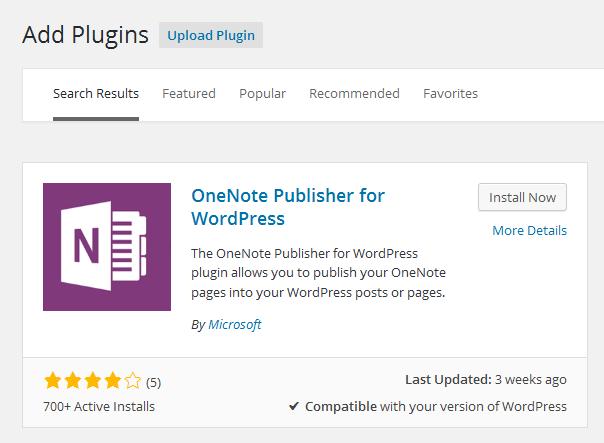 install OneNote Publisher for WordPress Plugin