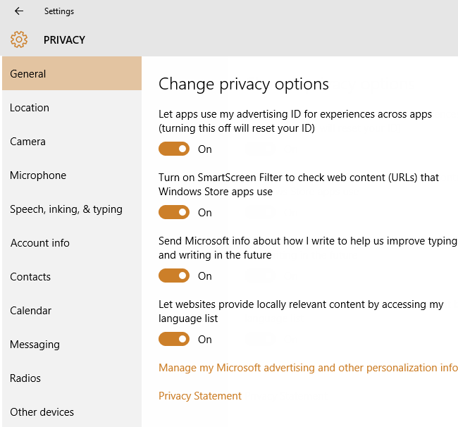 General Privacy Settings in windows 10