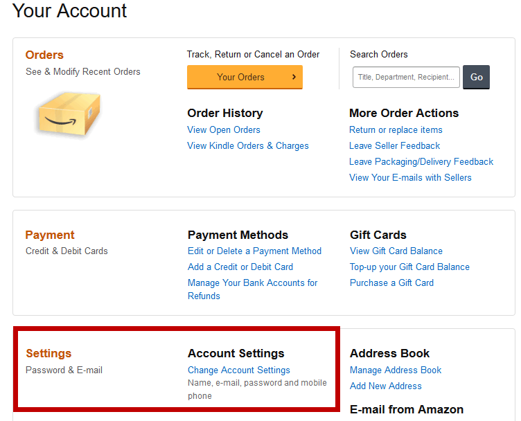 change account settings in amazon