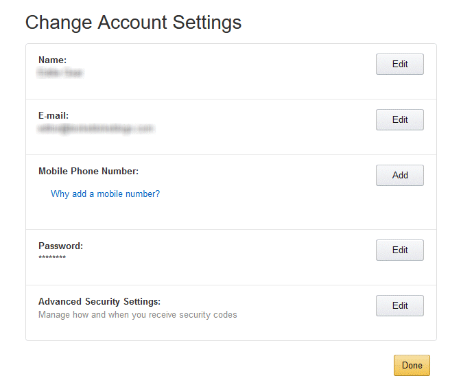 change account settings