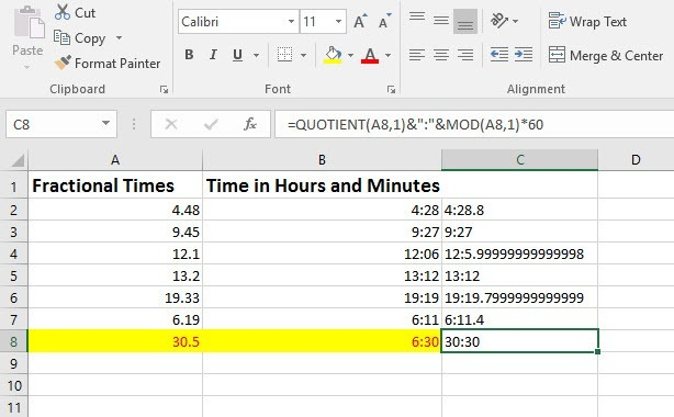 How to Convert Fractional Times to Hours and Minutes in Excel