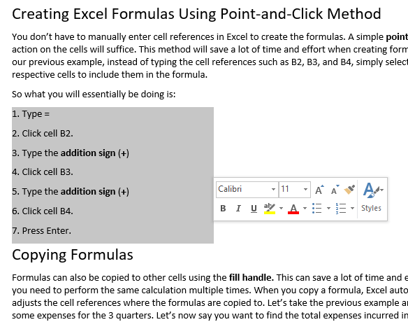 highlight a square block of text in word