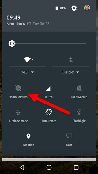 Do not disturb in quick settings