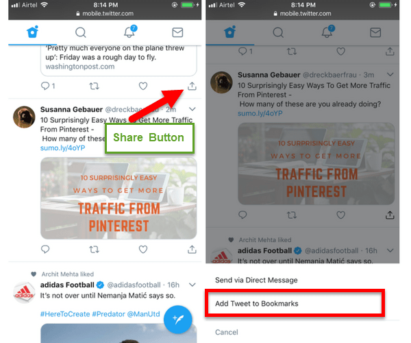 How to Bookmark Tweets on iOS or Android Device