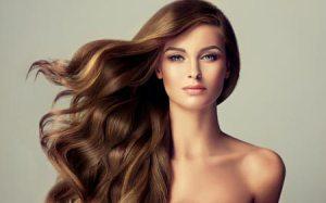 Girl with keratin treated hair