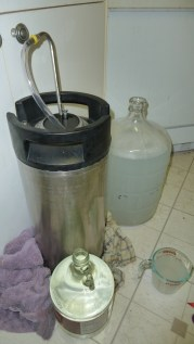 Cleaning up PBW spill while cleaning a keg.