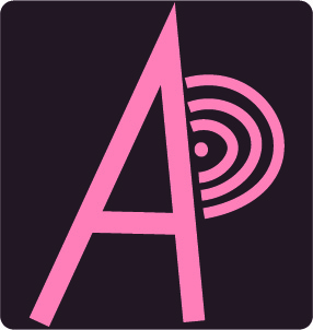 pink simple logo AP with brwon background