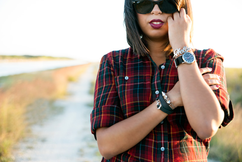Wearing Ralph Lauren Jeans Plaid Shirt, Timex Weekender Watch,