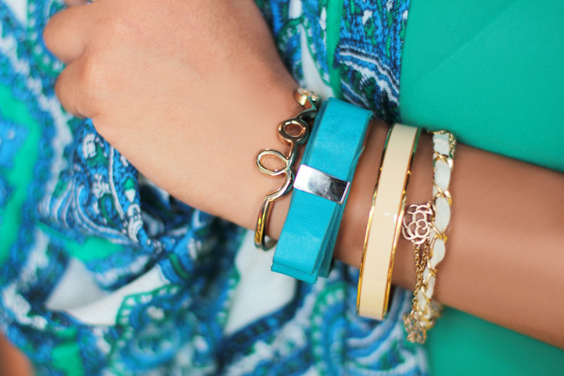 Arm Party: Wearing Love Cuff, BCBGeneration Bow Bracelet, Vince Camuto Bangle, Fox House Chain Bracelet