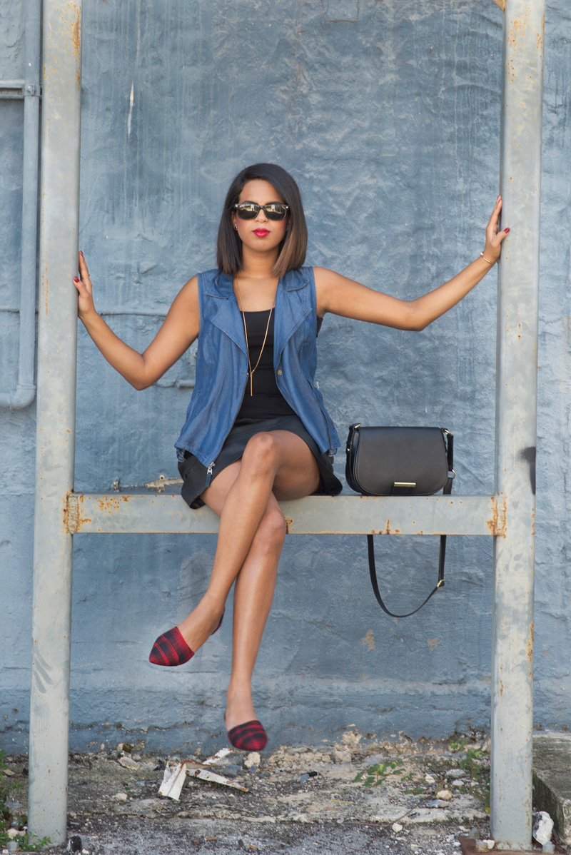Denim, Leather and red