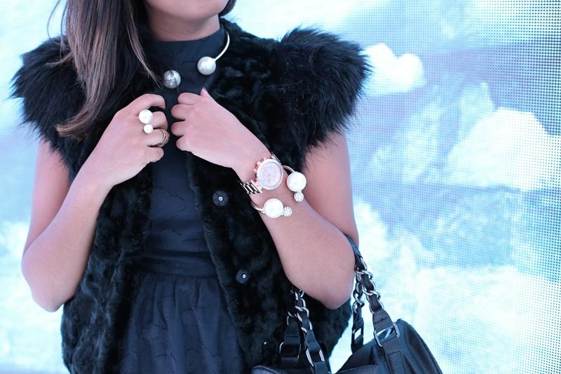 Wearing Zara pearl bubbles set