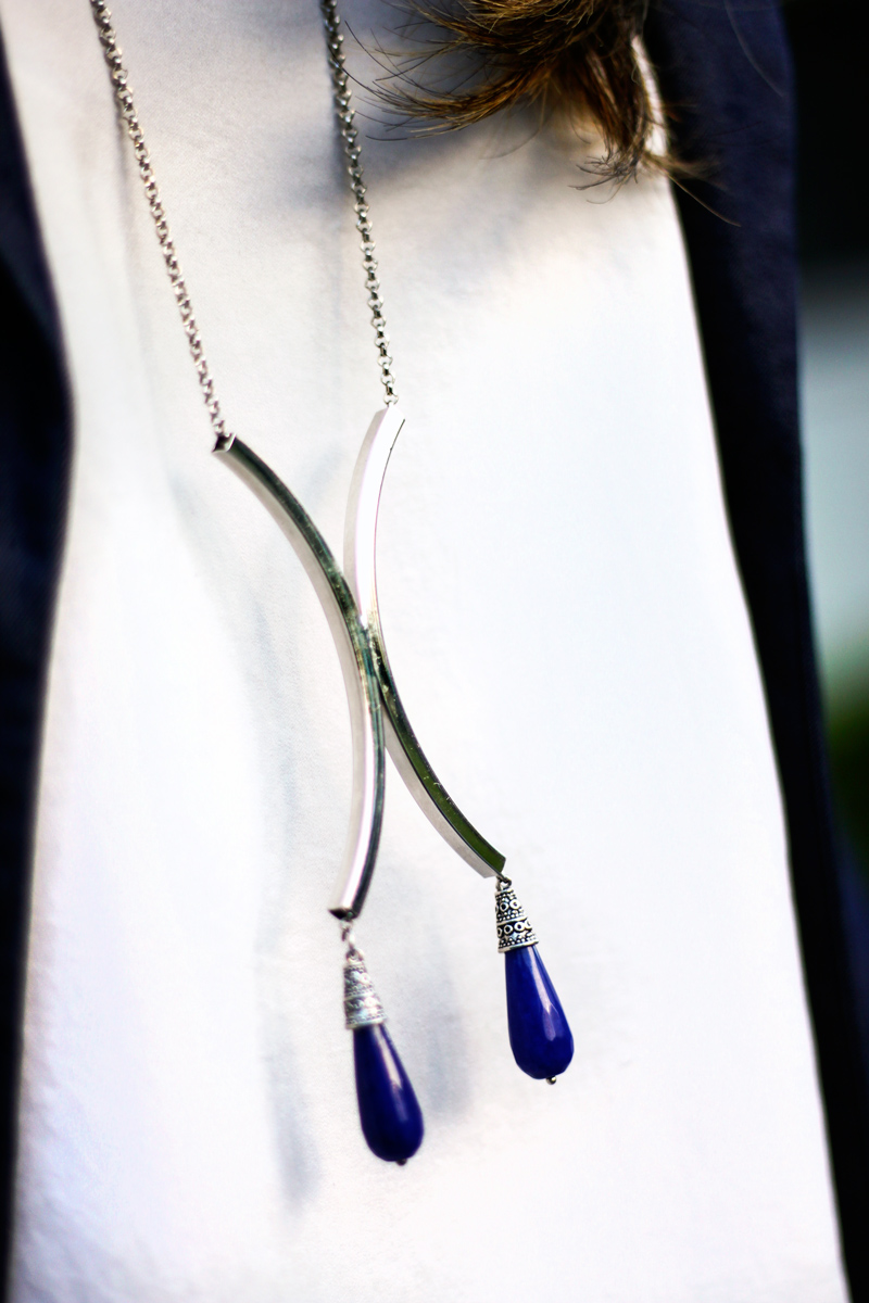 Silver Half Moon Necklace with Agate tear drop ends from Amoura Designs