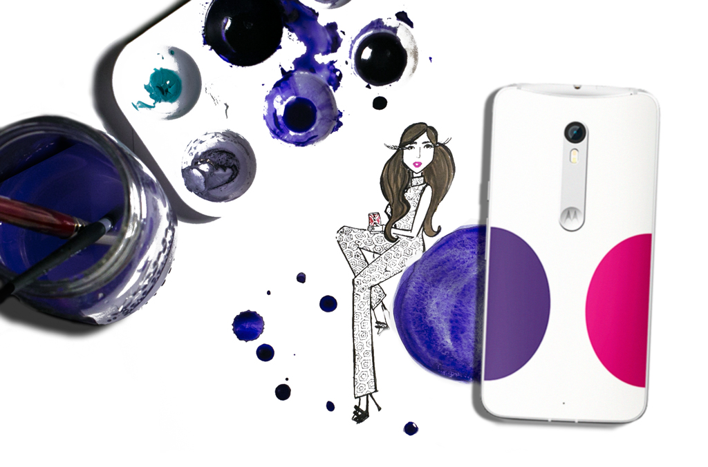 My inspired fashion illustration using the patterns from the Jonathan Adler for Motorola new limited line of the Moto X Pure Edition