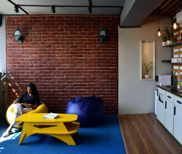Open Pantry And Breakout Space With Exposed Brick Wall As A Backdrop Adding The Industrial And Refreshing Character To The Space Large Jpg