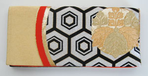 Golden Honeycomb Japanese Obi Clutch