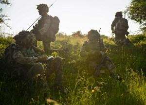 A Lt exercises platoon command in 1 GREN GDS