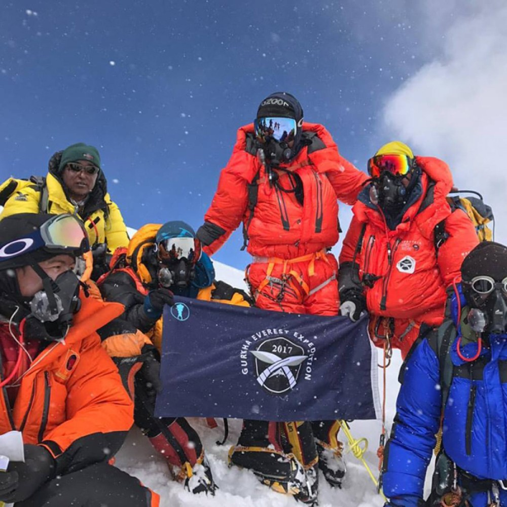 The Gurkha Everest Expedition 2017 at the summit of Mount Everest