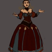 Mick Kaufer, Instructor, Dress Design Variation 1, Digital Costume and Character Design