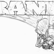 Bill Hauser, Instructor, BANE T-Shirt Concept Art, Pencil on Paper