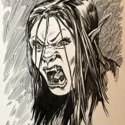 David Witt, Instructor, Screaming Were-Elf, Pen & Ink Character Study