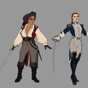 Mick Kaufer, Instructor, Pirate and Pursuer, Costume, and Pose Design, Digital Preparatory Drawing