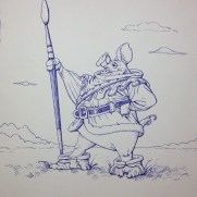 Rick Bernal, Illustrator, Robin Oink, This ballpoint ink drawing was done by our dear friend Rick Bernal to illustrate character design, composition, and inking for our school.