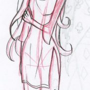 Sara Guneratne, Age 13, Red Pencil Sketchbook Character and Costume Concept Drawing, finished in Graphite