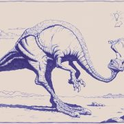 Rick Bernal, Illustrator, Dino and Bird. This ballpoint ink drawing was done by our dear friend Rick Bernal to illustrate key principals of character interaction, composition, and lighting for our school.