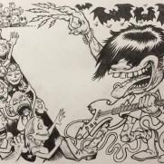 David Witt, Instructor, Guitar Hero II Career Difficulty Menu, Pen & Ink & Brush on Paper