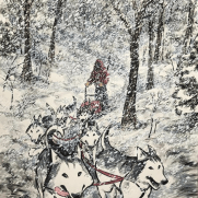 David Witt, Instructor, Dogsled Run, Acrylic Painting