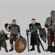 Mick Kaufer, Instructor, D & D Character Design Sheet With Height Comparisons, Digital Character Design Sheet