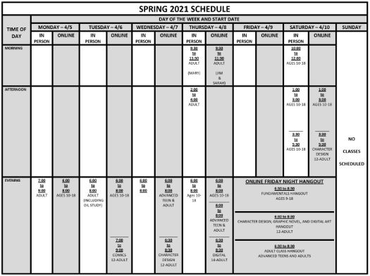 Spring 2021 Schedule
