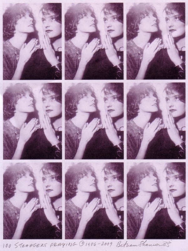 Bethann Shannon & friend praying in photo booth 1986 NYC