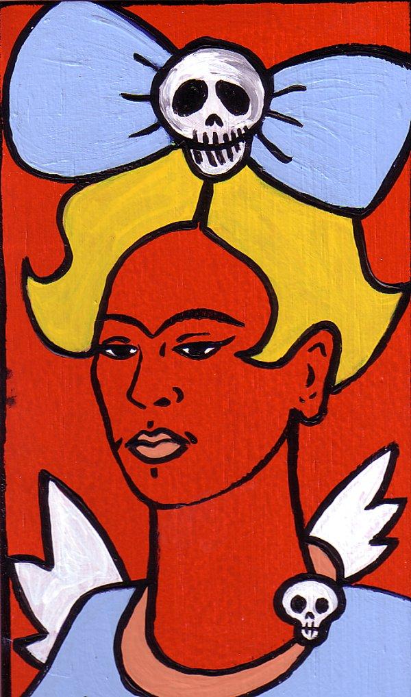 Blonde Frida with Big Skull Bow