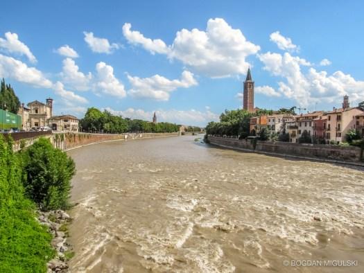 Adige River in Verona, Italy.