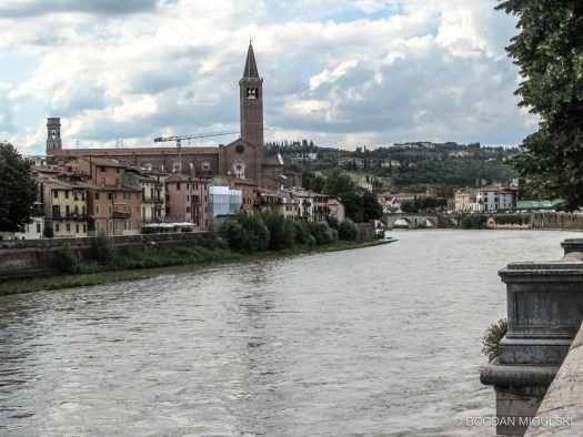 Adige River in Verona, Italy.