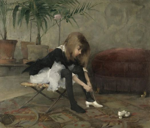 """Image of the painting """"Tanssiaiskengat Iso"""" by Helena Schjerfbeck."""
