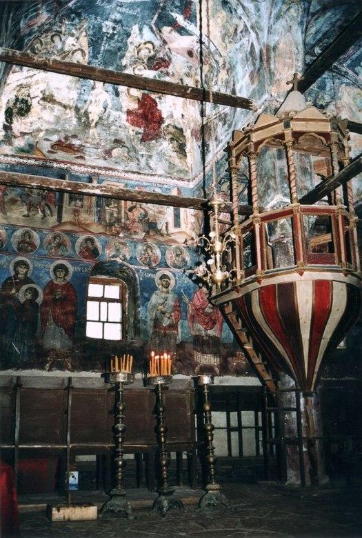Murals of St. Nicholas church in Moscopole, pa...
