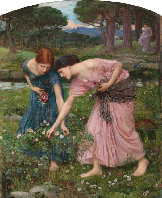 "The painting ""Gather Ye Rosebuds"" by John William Waterhouse"