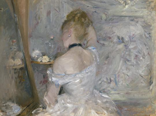 Berthe Morisot, Woman at Her Toilette, 1875–1880, oil on canvas, Art Institute of Chicago image