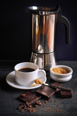 Coffee cup sugar and silver cafetiere