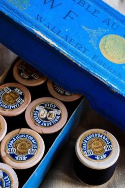 Wooden Bobbins & Blue Box